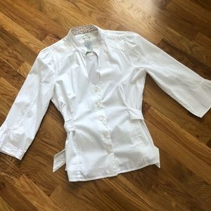 Anthro Odille Cotton Button Up Blouse